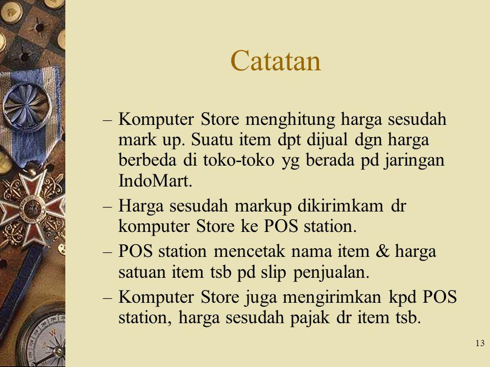 13 Catatan – Komputer Store menghitung harga sesudah mark up. Suatu item dpt dijual dgn harga berbeda di toko-toko yg berada pd jaringan IndoMart. – H