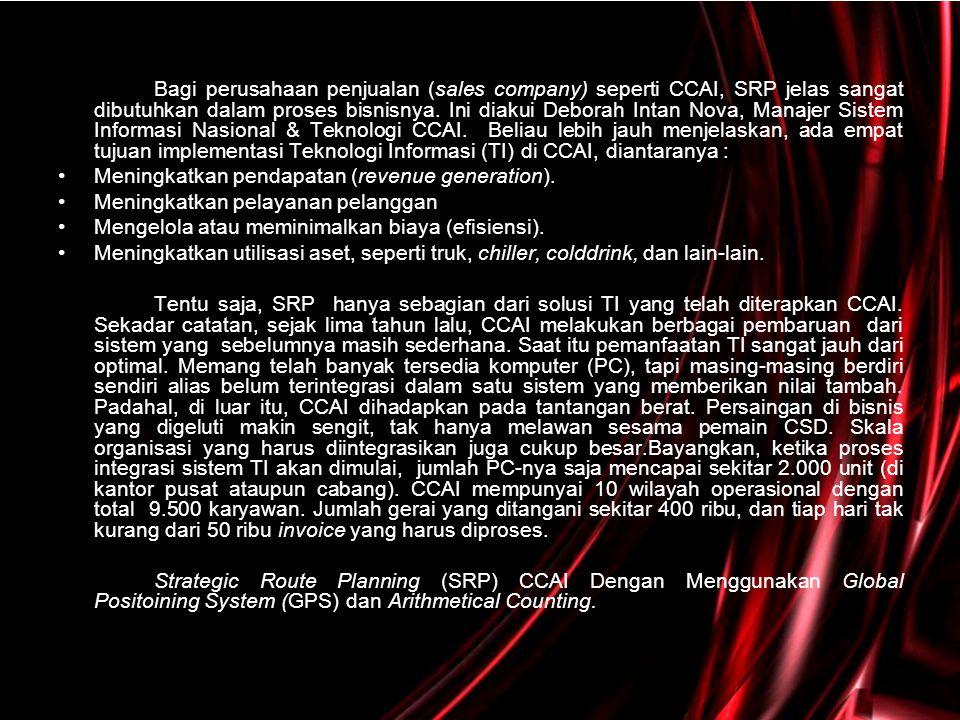 •Sebenarnya, dari berbagai solusi yang sudah diimplementasi CCAI, yang paling unik memang aplikasi SRP.