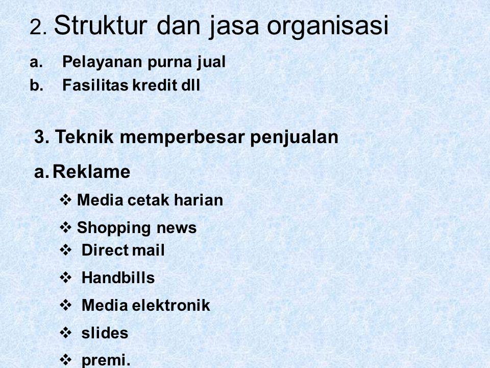 2. Struktur dan jasa organisasi a.Pelayanan purna jual b.Fasilitas kredit dll 3. Teknik memperbesar penjualan a.Reklame  Media cetak harian  Shoppin
