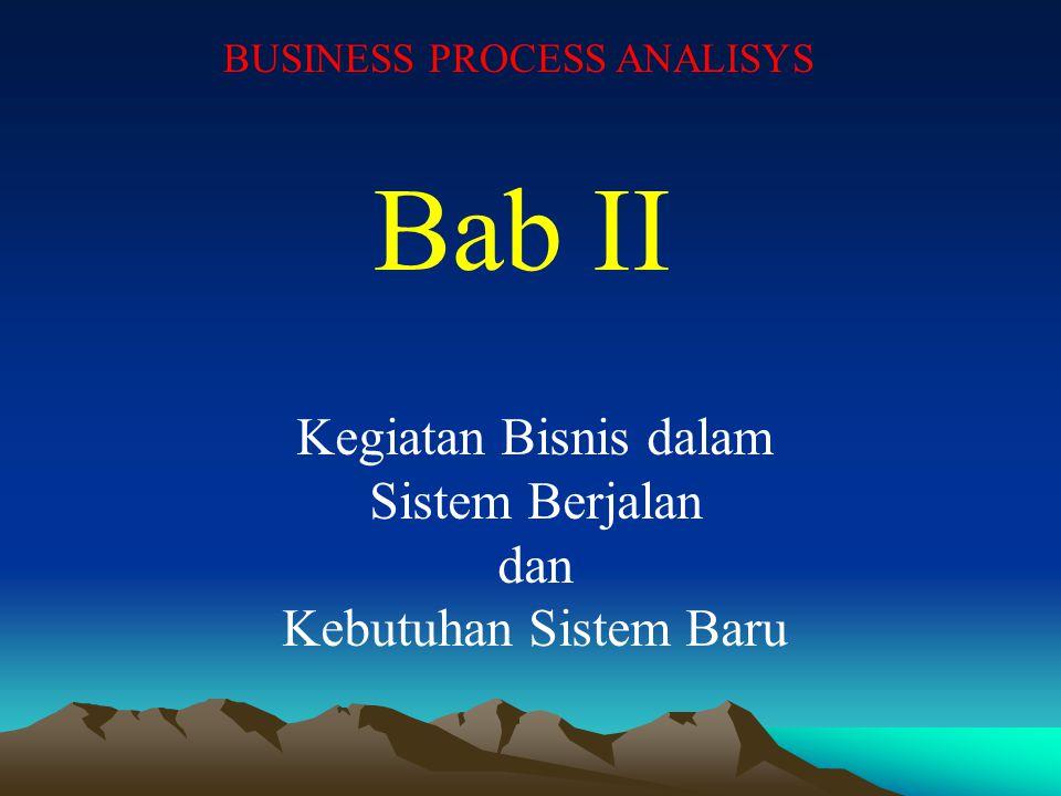 Bab II Kegiatan Bisnis dalam Sistem Berjalan dan Kebutuhan Sistem Baru BUSINESS PROCESS ANALISYS