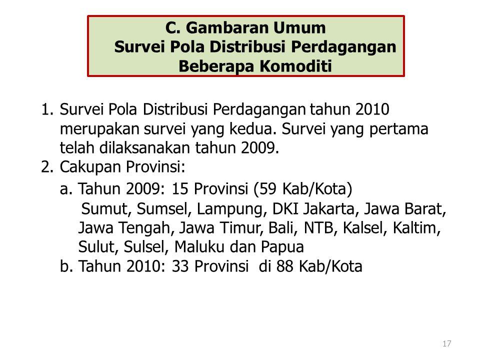 C. Gambaran Umum Survei Pola Distribusi Perdagangan Beberapa Komoditi 17 1.Survei Pola Distribusi Perdagangan tahun 2010 merupakan survei yang kedua.