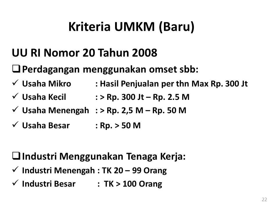 Kriteria UMKM (Baru) UU RI Nomor 20 Tahun 2008  Perdagangan menggunakan omset sbb:  Usaha Mikro: Hasil Penjualan per thn Max Rp. 300 Jt  Usaha Keci