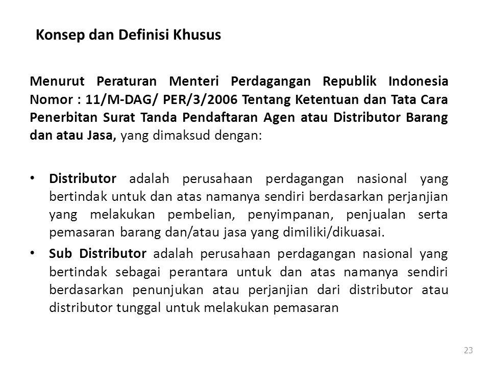 Konsep dan Definisi Khusus Menurut Peraturan Menteri Perdagangan Republik Indonesia Nomor : 11/M-DAG/ PER/3/2006 Tentang Ketentuan dan Tata Cara Pener