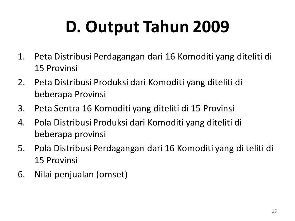 D. Output Tahun 2009 1.Peta Distribusi Perdagangan dari 16 Komoditi yang diteliti di 15 Provinsi 2.Peta Distribusi Produksi dari Komoditi yang ditelit