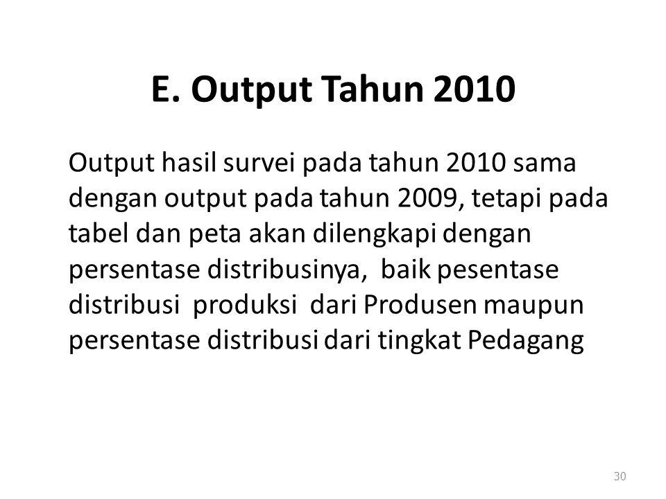 E. Output Tahun 2010 Output hasil survei pada tahun 2010 sama dengan output pada tahun 2009, tetapi pada tabel dan peta akan dilengkapi dengan persent