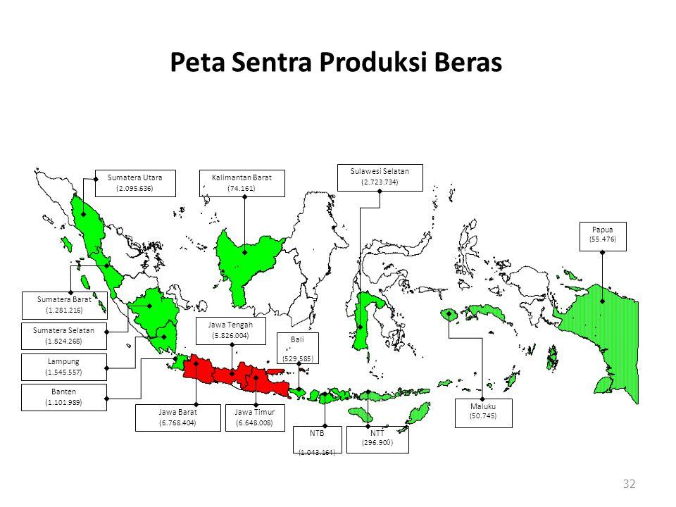 Peta Sentra Produksi Beras 32 Papua (55.476) Kalimantan Barat ( 74.161 ) Sumatera Utara ( 2.095.636 ) Sumatera Barat ( 1.281.216 ) Sumatera Selatan (