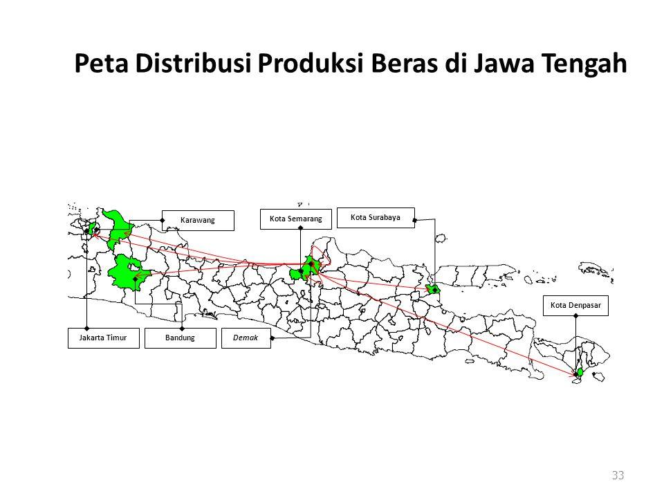 Peta Distribusi Produksi Beras di Jawa Tengah 33 Kota Denpasar Kota Surabaya Demak Kota Semarang Jakarta TimurBandung Karawang