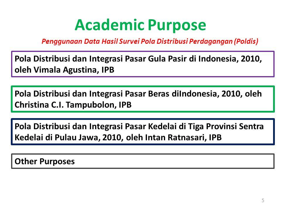 Academic Purpose 5 Pola Distribusi dan Integrasi Pasar Gula Pasir di Indonesia, 2010, oleh Vimala Agustina, IPB Pola Distribusi dan Integrasi Pasar Be