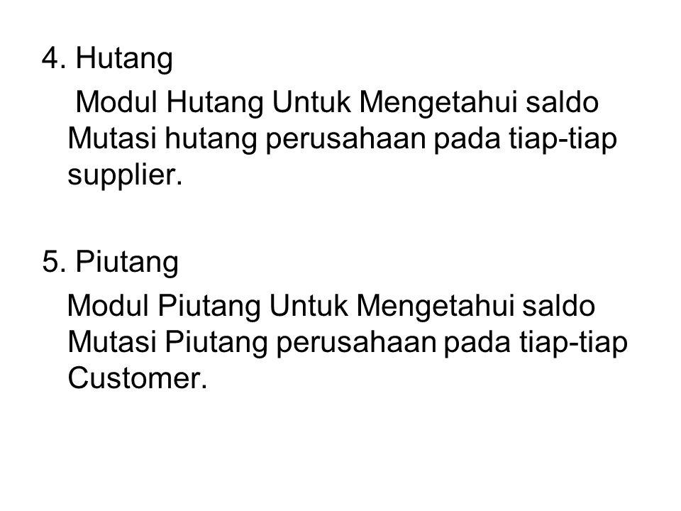 4.Hutang Modul Hutang Untuk Mengetahui saldo Mutasi hutang perusahaan pada tiap-tiap supplier.