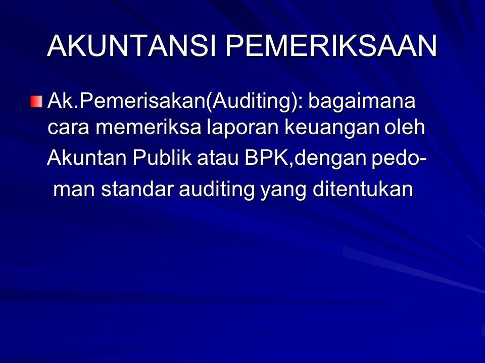 AKUNTANSI PEMERIKSAAN Ak.Pemerisakan(Auditing): bagaimana cara memeriksa laporan keuangan oleh Akuntan Publik atau BPK,dengan pedo- Akuntan Publik ata