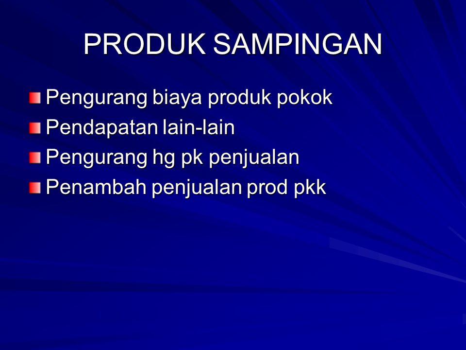 PRODUK SAMPINGAN Pengurang biaya produk pokok Pendapatan lain-lain Pengurang hg pk penjualan Penambah penjualan prod pkk