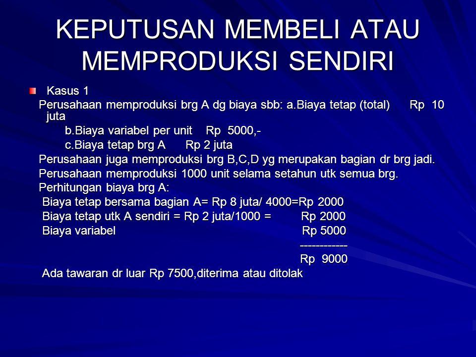 KEPUTUSAN MEMBELI ATAU MEMPRODUKSI SENDIRI Kasus 1 Perusahaan memproduksi brg A dg biaya sbb: a.Biaya tetap (total) Rp 10 juta Perusahaan memproduksi