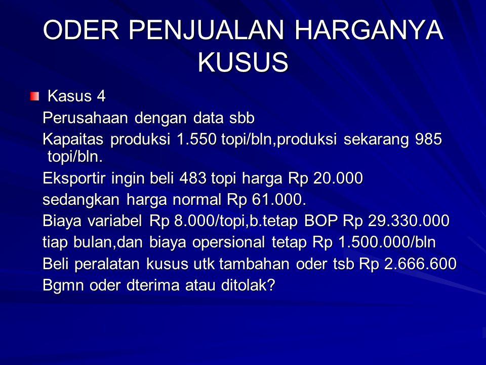 ODER PENJUALAN HARGANYA KUSUS Kasus 4 Perusahaan dengan data sbb Perusahaan dengan data sbb Kapaitas produksi 1.550 topi/bln,produksi sekarang 985 top