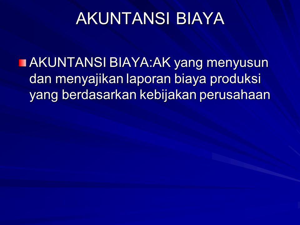AKUNTANSI BIAYA AKUNTANSI BIAYA:AK yang menyusun dan menyajikan laporan biaya produksi yang berdasarkan kebijakan perusahaan