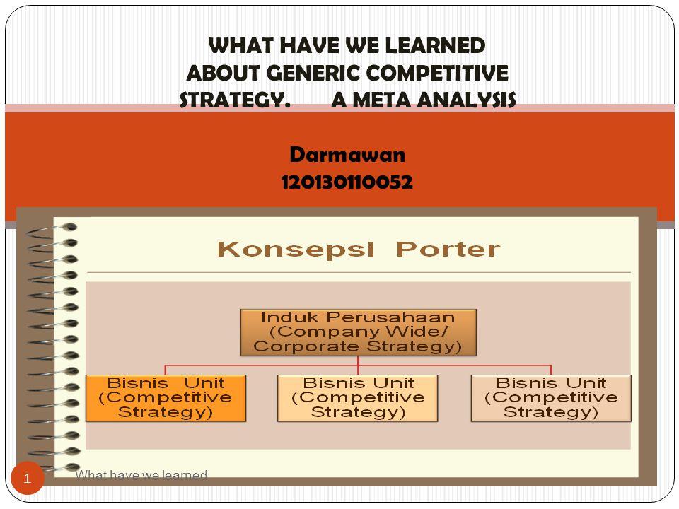 Meta desain strategi kompetiitif: Taksonomi dan interpretasi empir is What have we learned 22 Analisis cluster digunakan untuk mengidentifikasi pola yg paling umum dalam vektor biner yang menggambarkan ciri khas dari tiap cluster, dengan menggunakan prosedur yg sama dengan yang digunakan dalam studi 1.