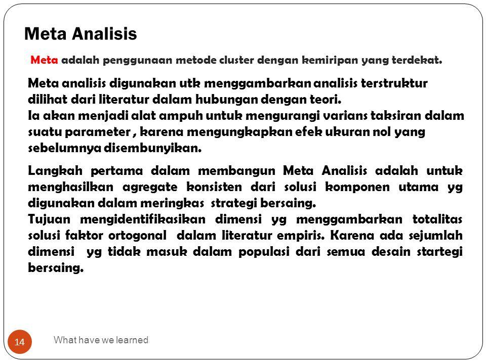 What have we learned 14 Meta Analisis Meta analisis digunakan utk menggambarkan analisis terstruktur dilihat dari literatur dalam hubungan dengan teor