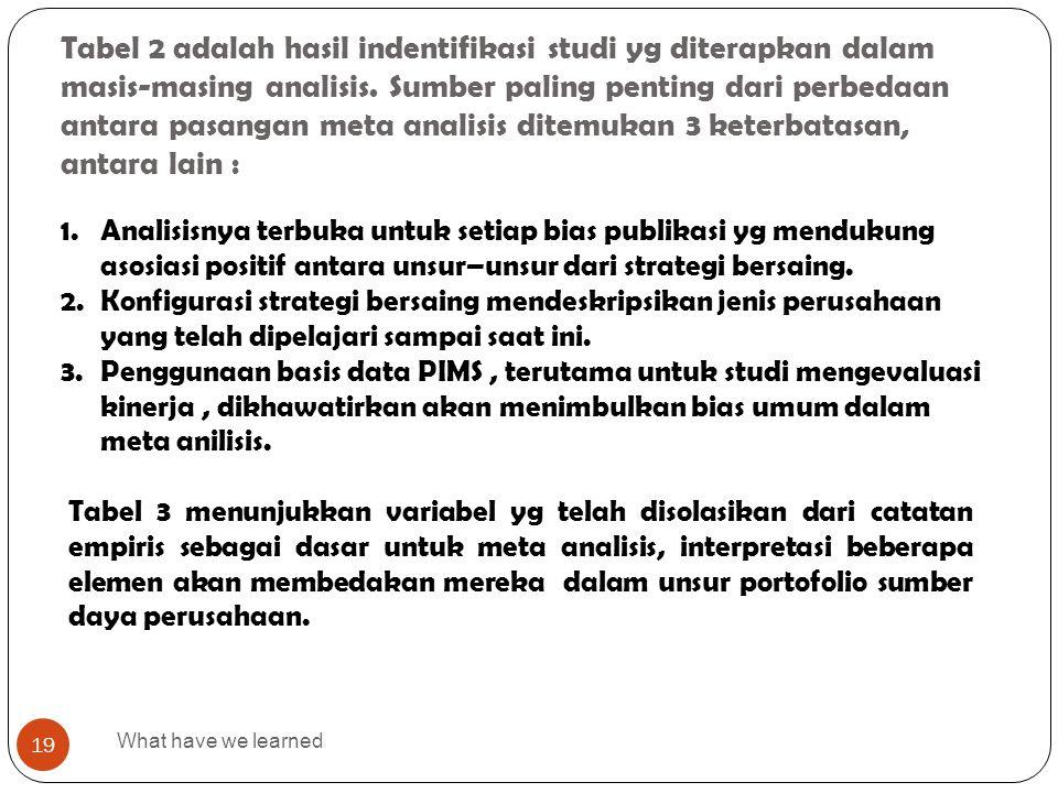 Tabel 2 adalah hasil indentifikasi studi yg diterapkan dalam masis-masing analisis. Sumber paling penting dari perbedaan antara pasangan meta analisis