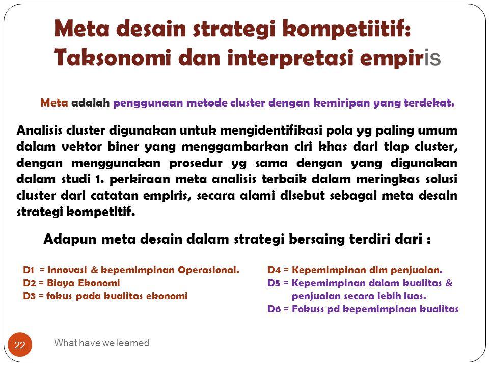 Meta desain strategi kompetiitif: Taksonomi dan interpretasi empir is What have we learned 22 Analisis cluster digunakan untuk mengidentifikasi pola y