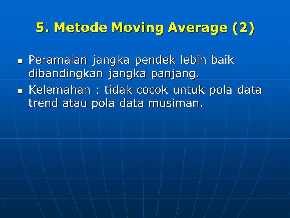 5. Metode Moving Average (2)  Peramalan jangka pendek lebih baik dibandingkan jangka panjang.  Kelemahan : tidak cocok untuk pola data trend atau po