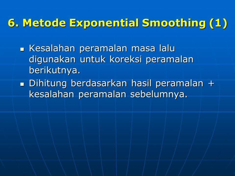 6. Metode Exponential Smoothing (1)  Kesalahan peramalan masa lalu digunakan untuk koreksi peramalan berikutnya.  Dihitung berdasarkan hasil peramal