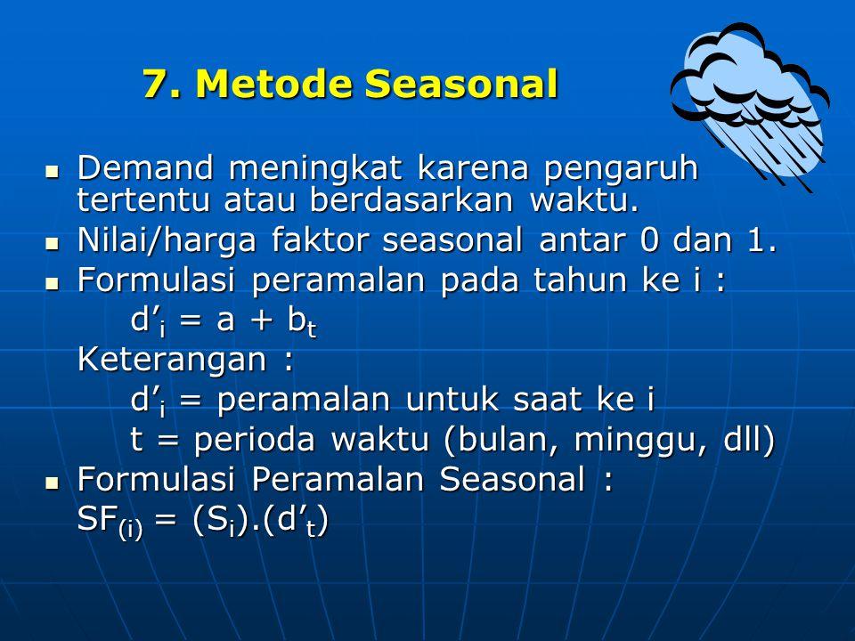 7. Metode Seasonal  Demand meningkat karena pengaruh tertentu atau berdasarkan waktu.  Nilai/harga faktor seasonal antar 0 dan 1.  Formulasi perama