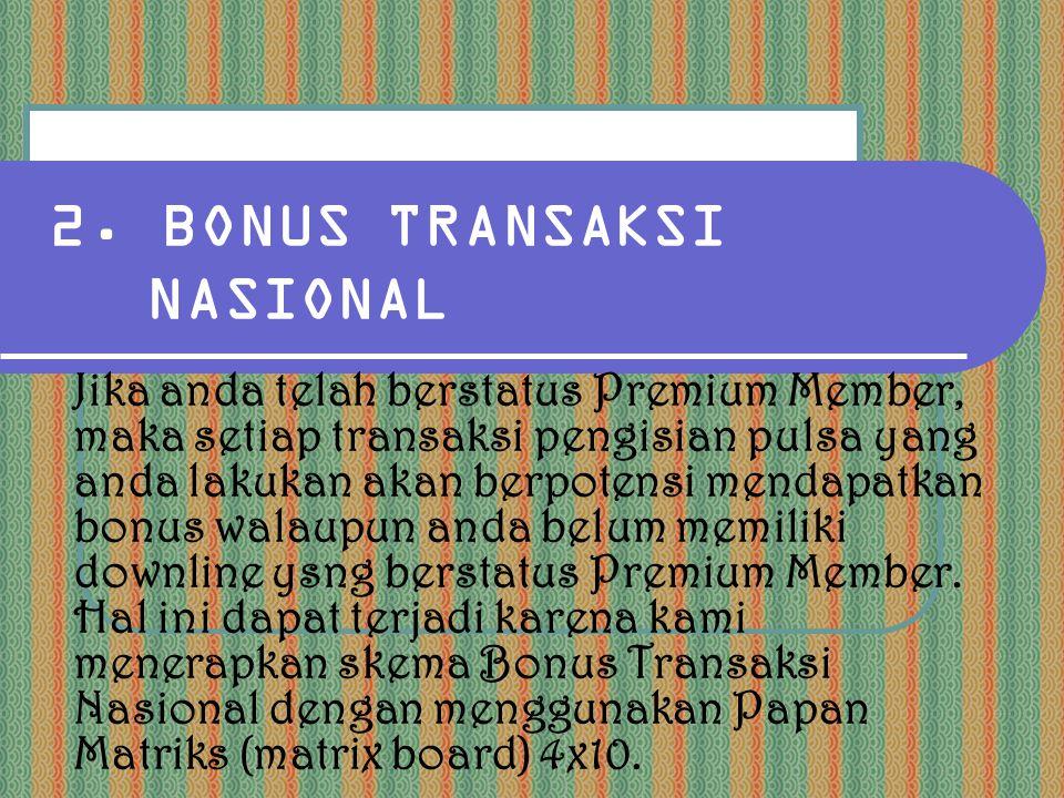 2. BONUS TRANSAKSI NASIONAL Jika anda telah berstatus Premium Member, maka setiap transaksi pengisian pulsa yang anda lakukan akan berpotensi mendapat