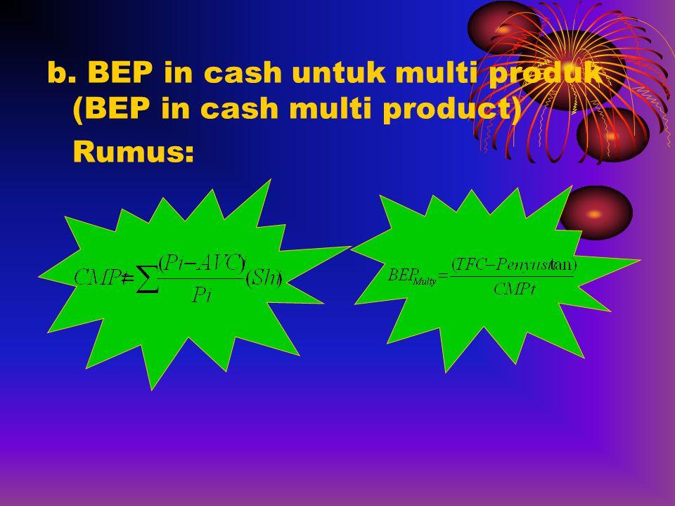 b. BEP in cash untuk multi produk (BEP in cash multi product) Rumus: