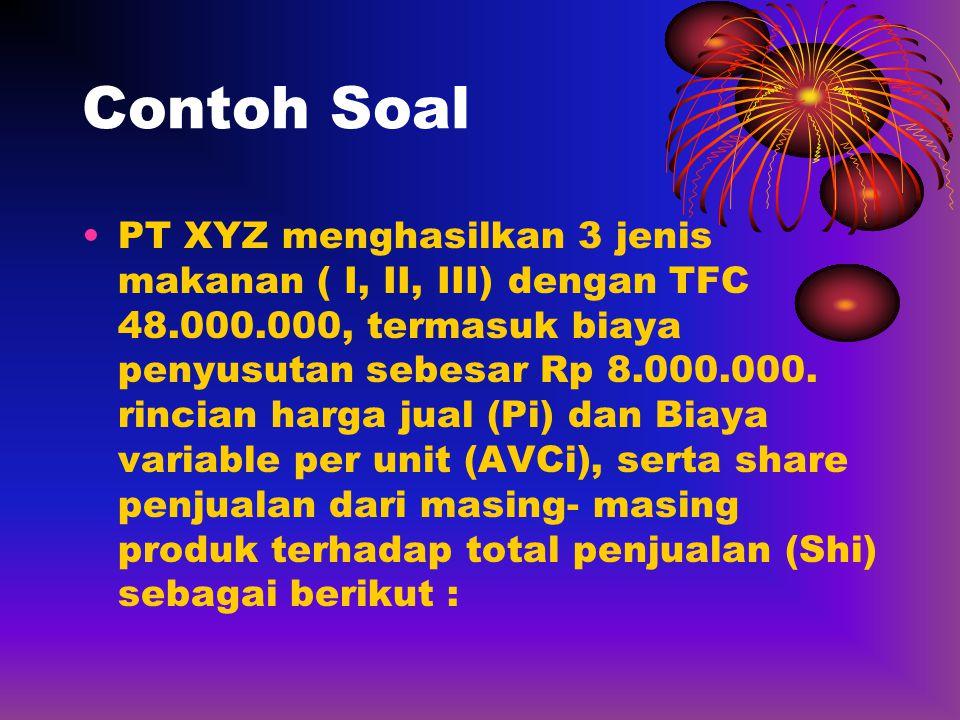 Contoh Soal •PT XYZ menghasilkan 3 jenis makanan ( I, II, III) dengan TFC 48.000.000, termasuk biaya penyusutan sebesar Rp 8.000.000. rincian harga ju
