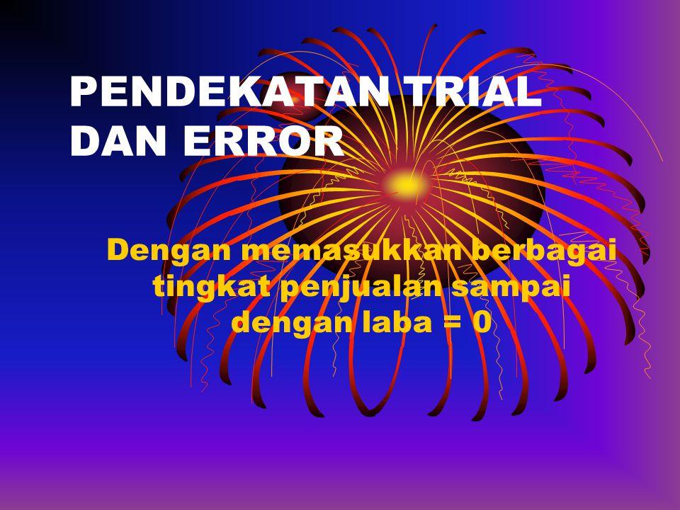 PENDEKATAN TRIAL DAN ERROR Dengan memasukkan berbagai tingkat penjualan sampai dengan laba = 0