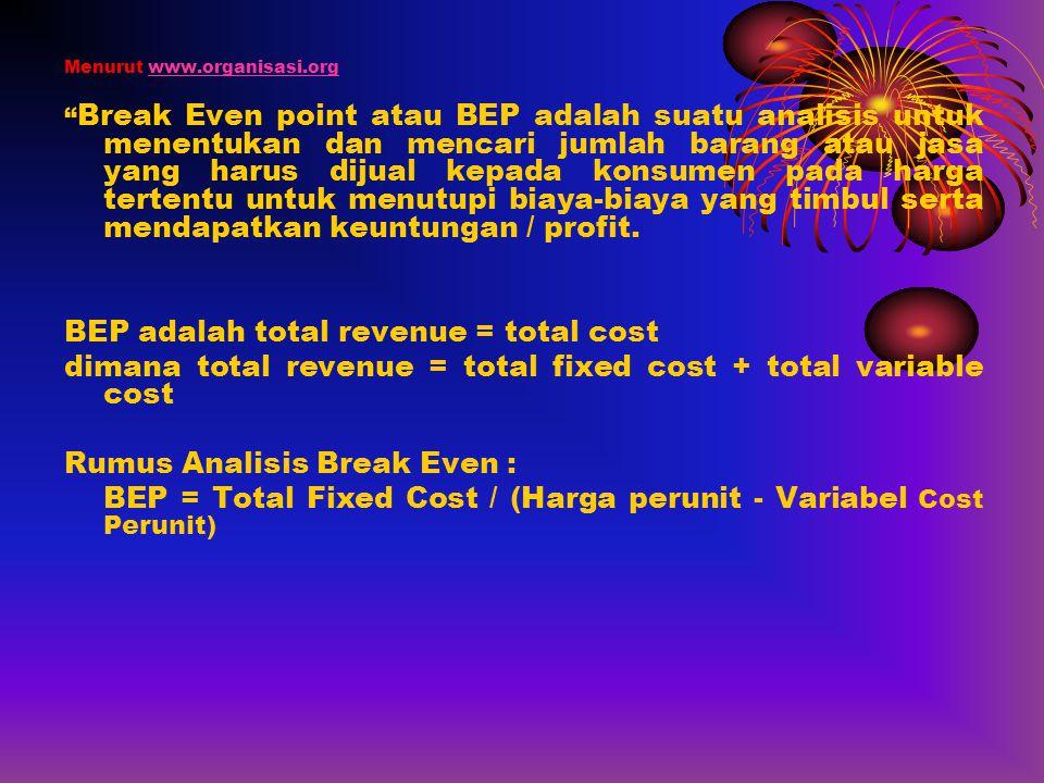"""Menurut www.organisasi.orgwww.organisasi.org """" Break Even point atau BEP adalah suatu analisis untuk menentukan dan mencari jumlah barang atau jasa ya"""