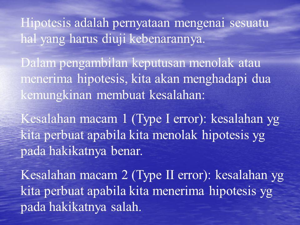 Hipotesis adalah pernyataan mengenai sesuatu hal yang harus diuji kebenarannya. Dalam pengambilan keputusan menolak atau menerima hipotesis, kita akan