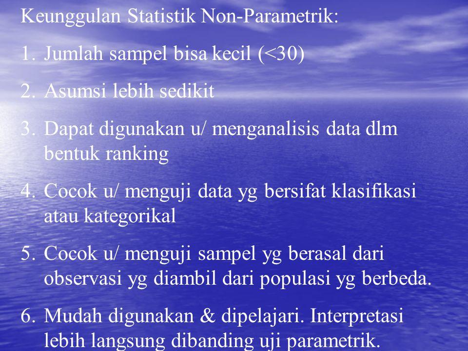Keunggulan Statistik Non-Parametrik: 1.Jumlah sampel bisa kecil (<30) 2.Asumsi lebih sedikit 3.Dapat digunakan u/ menganalisis data dlm bentuk ranking