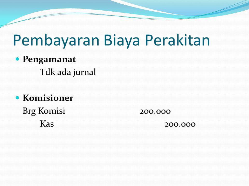 Pembayaran Biaya Perakitan  Pengamanat Tdk ada jurnal  Komisioner Brg Komisi200.000 Kas200.000