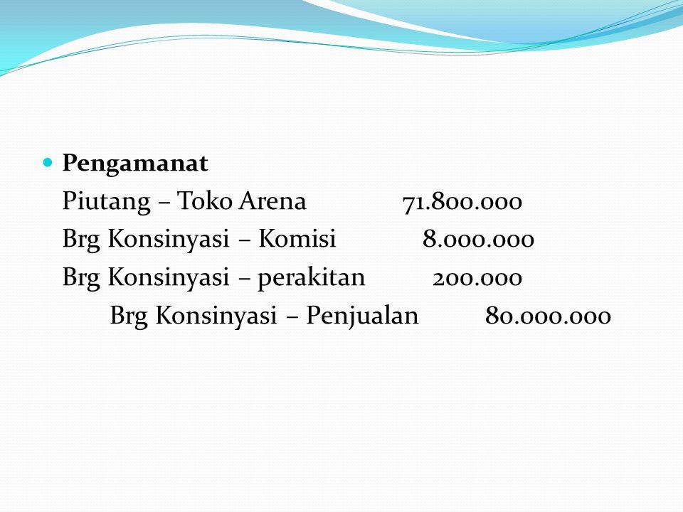  Pengamanat Piutang – Toko Arena 71.800.000 Brg Konsinyasi – Komisi 8.000.000 Brg Konsinyasi – perakitan 200.000 Brg Konsinyasi – Penjualan 80.000.00