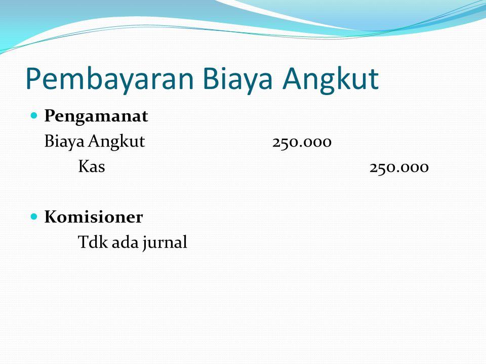 Pembayaran Biaya Angkut  Pengamanat Biaya Angkut250.000 Kas250.000  Komisioner Tdk ada jurnal