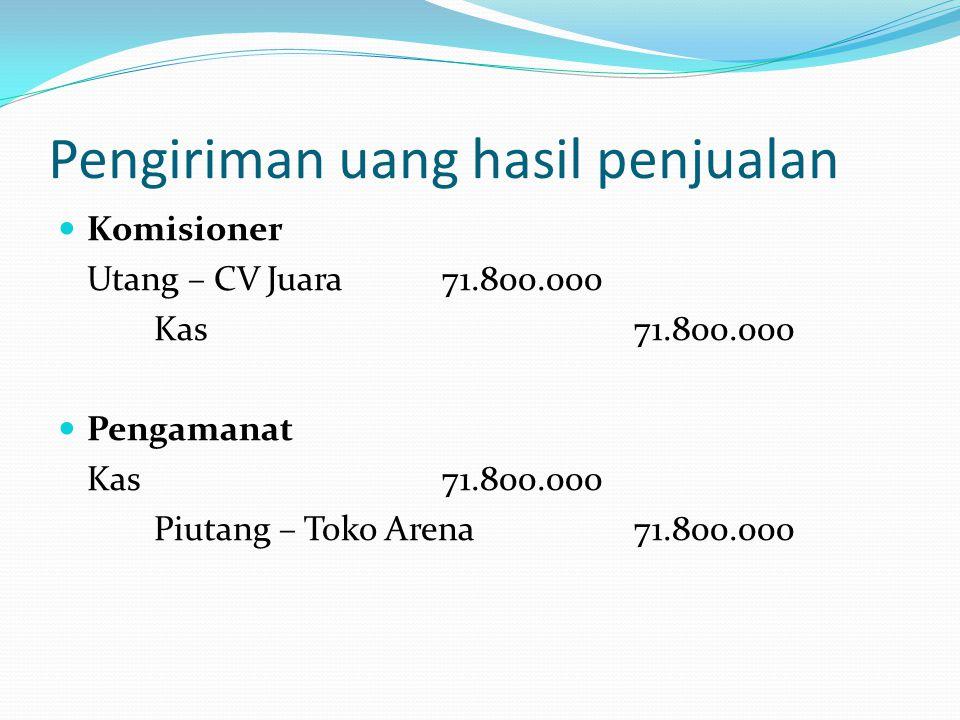 Pengiriman uang hasil penjualan  Komisioner Utang – CV Juara71.800.000 Kas71.800.000  Pengamanat Kas71.800.000 Piutang – Toko Arena71.800.000