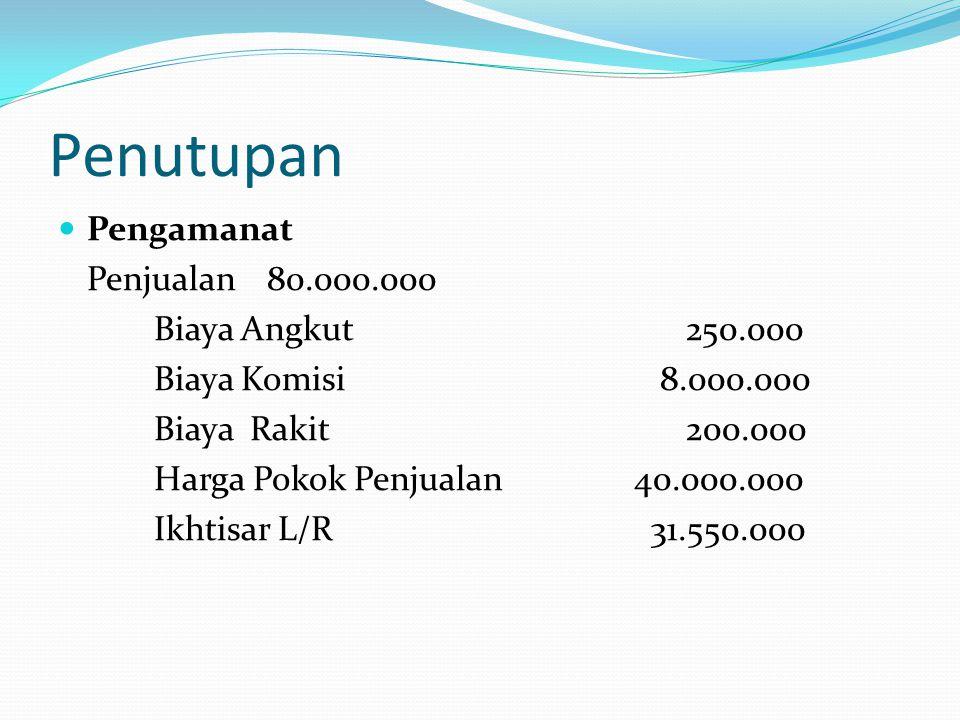 Penutupan  Pengamanat Penjualan 80.000.000 Biaya Angkut 250.000 Biaya Komisi 8.000.000 Biaya Rakit 200.000 Harga Pokok Penjualan 40.000.000 Ikhtisar