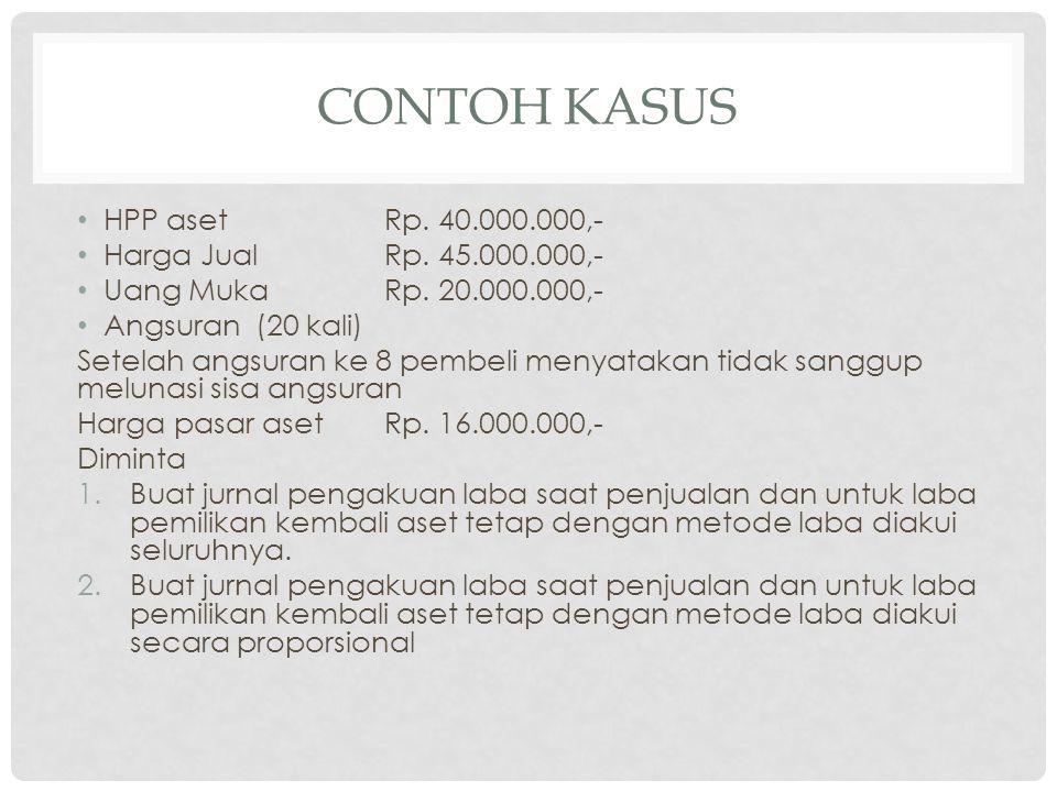 CONTOH KASUS • HPP asetRp.40.000.000,- • Harga JualRp.