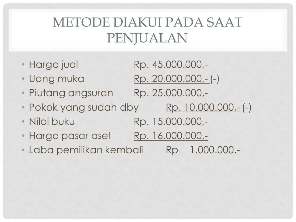 METODE DIAKUI PADA SAAT PENJUALAN • Harga jualRp. 45.000.000,- • Uang mukaRp. 20.000.000,- (-) • Piutang angsuranRp. 25.000.000,- • Pokok yang sudah d