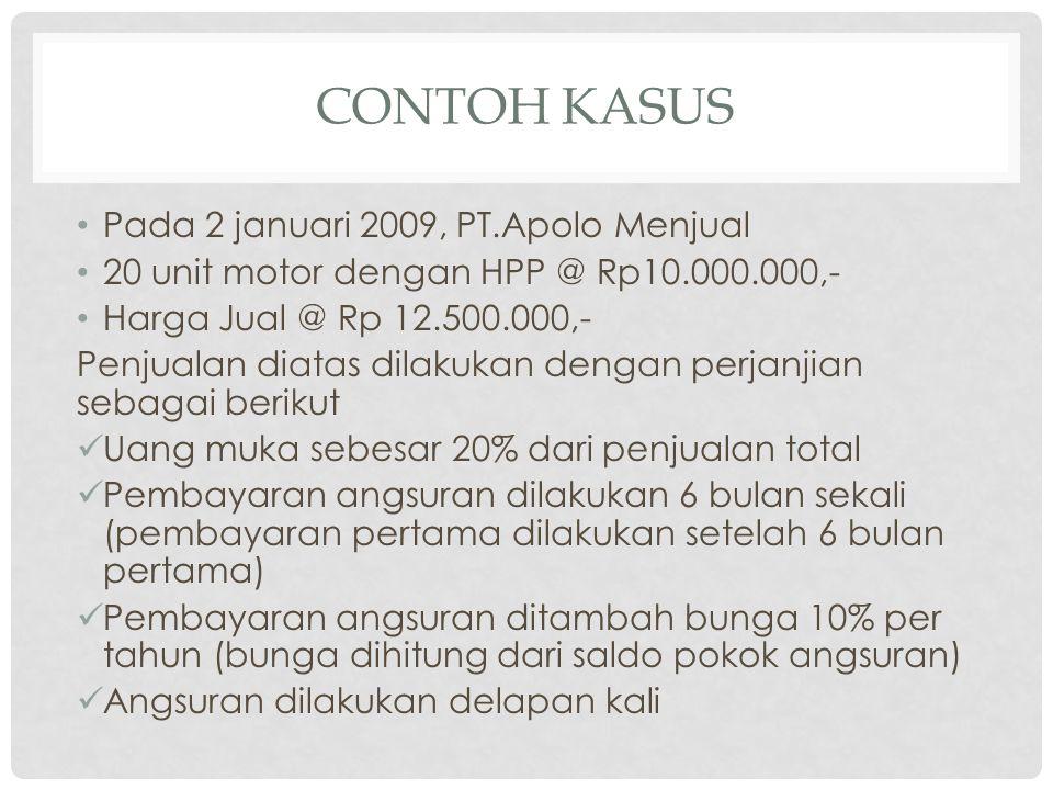 CONTOH KASUS • Pada 2 januari 2009, PT.Apolo Menjual • 20 unit motor dengan HPP @ Rp10.000.000,- • Harga Jual @ Rp 12.500.000,- Penjualan diatas dilak