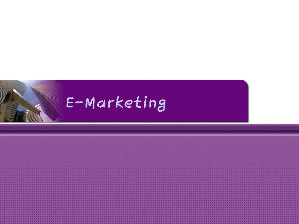 Internet Marketing • Penggunaan internet sebagai alat pemasaran (E-Marketing) • Karakteristik internet yang harus diperhatikan dalan E-Marketing, meliputi : keterjangkauan yang luas, kekayaan informasi, pencapaian global, interaktiviti, kustomisasi dan personalisasi.