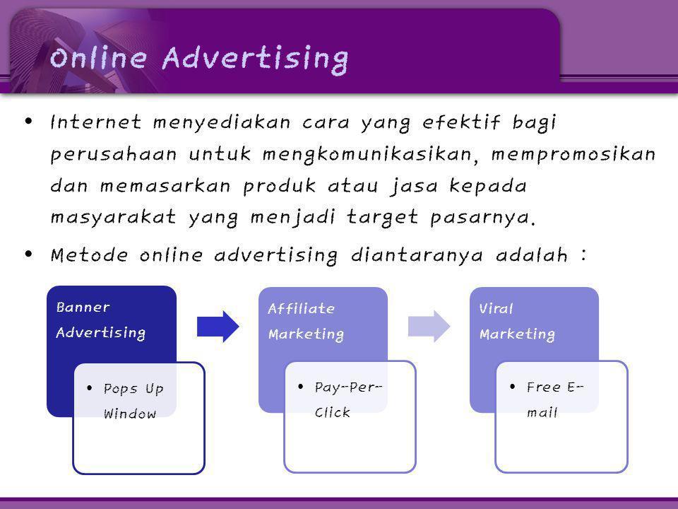 Online Advertising • Internet menyediakan cara yang efektif bagi perusahaan untuk mengkomunikasikan, mempromosikan dan memasarkan produk atau jasa kep