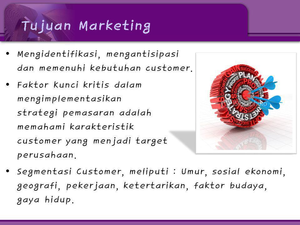 Tujuan Marketing • Mengidentifikasi, mengantisipasi dan memenuhi kebutuhan customer. • Faktor Kunci kritis dalam mengimplementasikan strategi pemasara