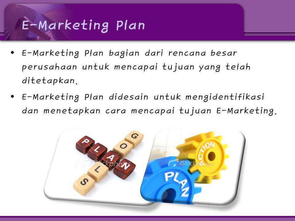 E-Marketing Plan • E-Marketing Plan bagian dari rencana besar perusahaan untuk mencapai tujuan yang telah ditetapkan. • E-Marketing Plan didesain untu