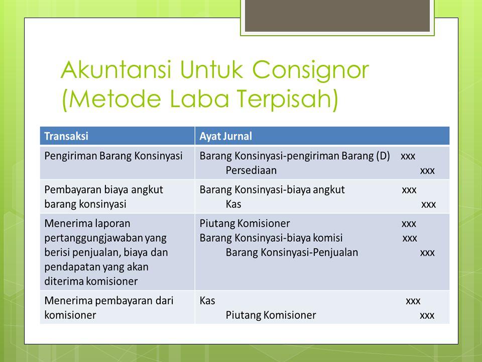 Akuntansi Untuk Consignor (Metode Laba Terpisah)