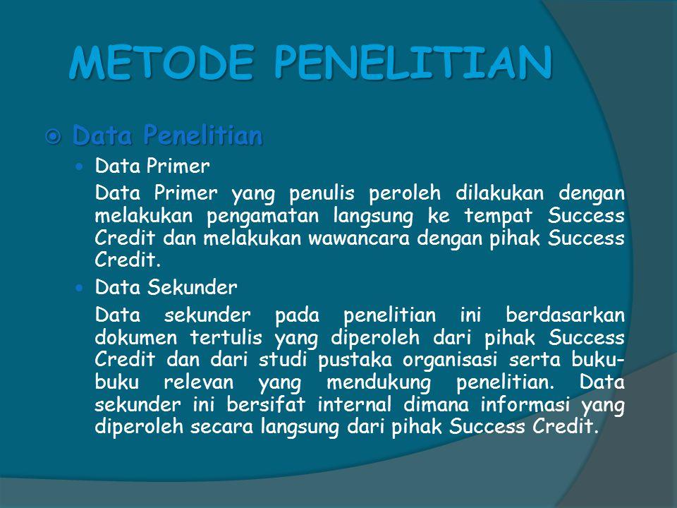 METODE PENELITIAN  Data Penelitian  Data Primer Data Primer yang penulis peroleh dilakukan dengan melakukan pengamatan langsung ke tempat Success Credit dan melakukan wawancara dengan pihak Success Credit.