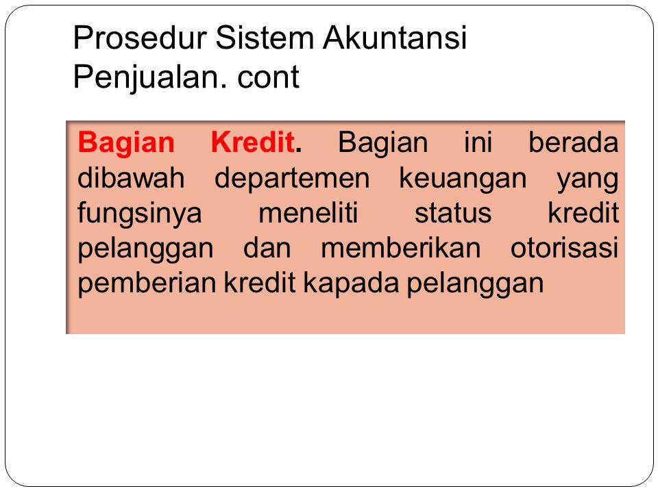 Prosedur Sistem Akuntansi Penjualan.cont Bagian Kredit.