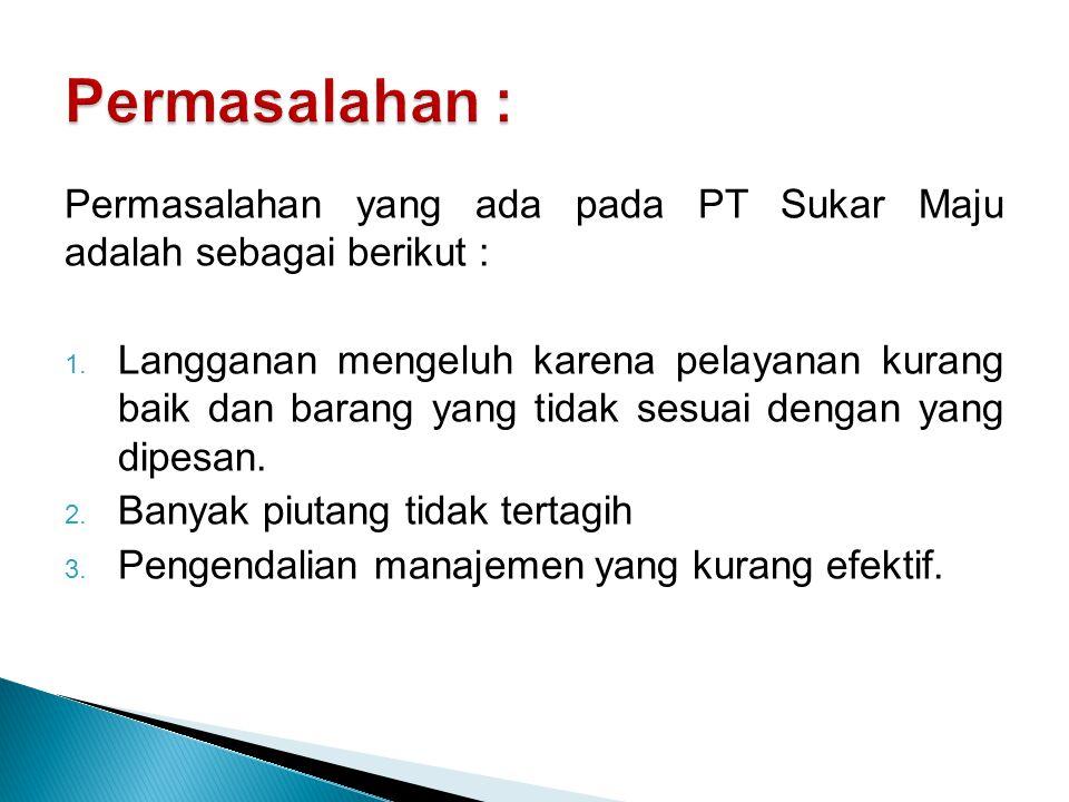 Masalah yang terjadi pad PT Sukar Maju, setelah dilakukan penelitian, ternyata disebabkan oleh : 1.