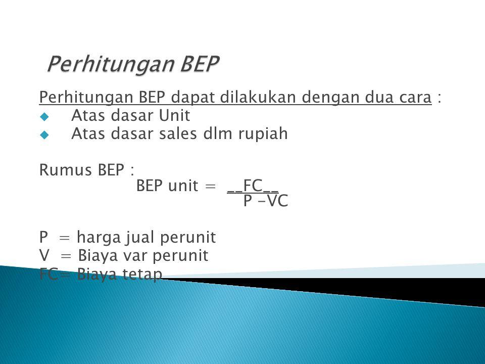 Perhitungan BEP dapat dilakukan dengan dua cara :  Atas dasar Unit  Atas dasar sales dlm rupiah Rumus BEP : BEP unit = __FC__ P -VC P = harga jual perunit V = Biaya var perunit FC= Biaya tetap