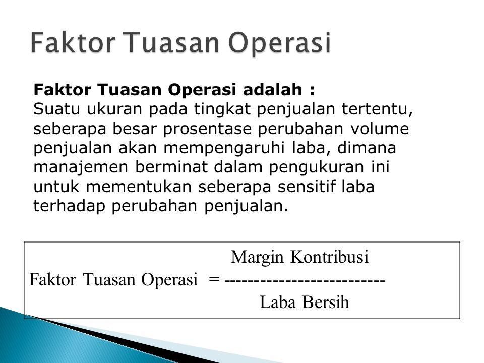 Margin Kontribusi Faktor Tuasan Operasi = -------------------------- Laba Bersih Faktor Tuasan Operasi adalah : Suatu ukuran pada tingkat penjualan te